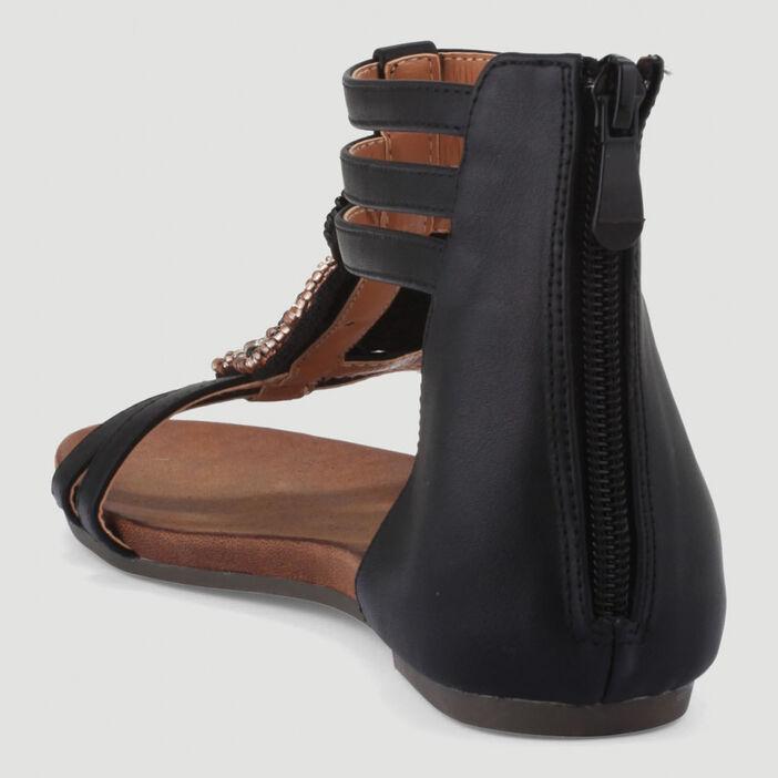 Sandales montantes déco bijoux femme noir