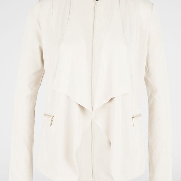 Veste en suédine asymétrique femme beige