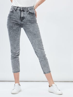 Jeans mom taille haute Liberto gris femme