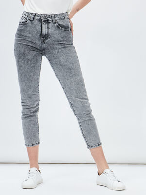 Jeans mom taille haute Liberto gris femme