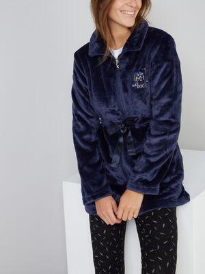Veste de pyjama avec noeud bleu marine femme