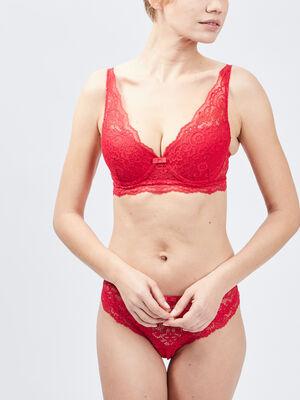 Soutien gorge triangle foulard rouge femme