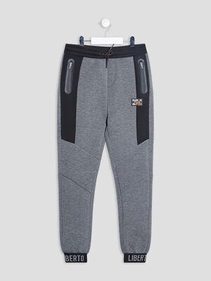 Pantalon jogging droit gris fonce garcon