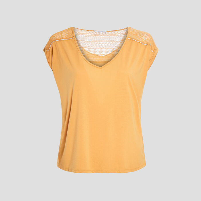 T-shirt femme grande taille jaune moutarde