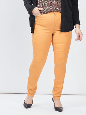 Pantalon slim grande taille jaune moutarde femmegt