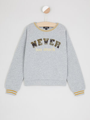 Sweatshirt a message rayures irisees gris fille