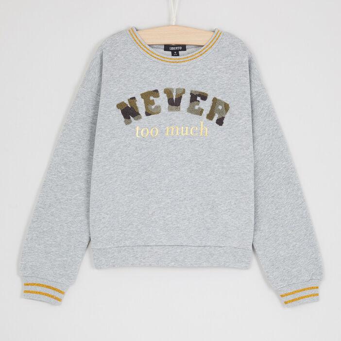 Sweatshirt à message rayures irisées fille gris
