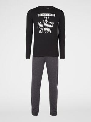 Pyjama coton majoritaire a message gris homme