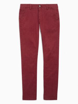 Pantalon 5 poches coton extensible rouge garcon