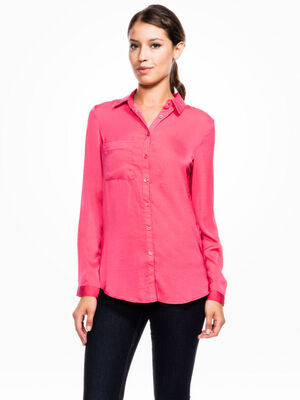 Chemise unie satinee coupe confort rouge femme