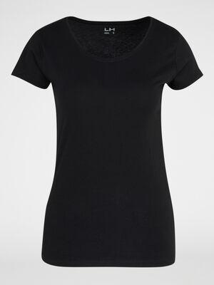 T shirt en coton uni noir femme