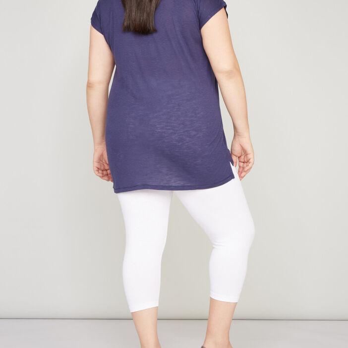 Legging court coton majoritaire femme grande taille blanc