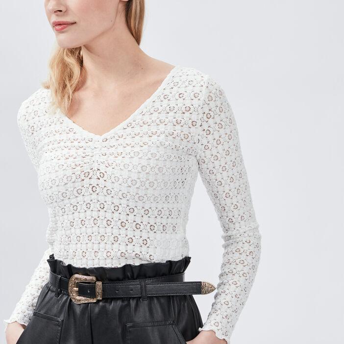 T-shirt en dentelle Liberto femme blanc