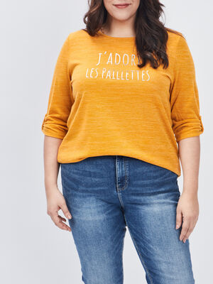 Pull manches 34 grande taille jaune moutarde femmegt