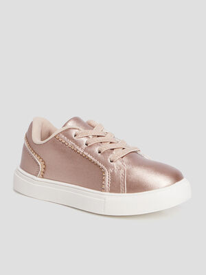 Tennis a lacets rose champagne fille