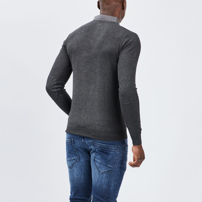 Pull avec col polo homme gris fonce