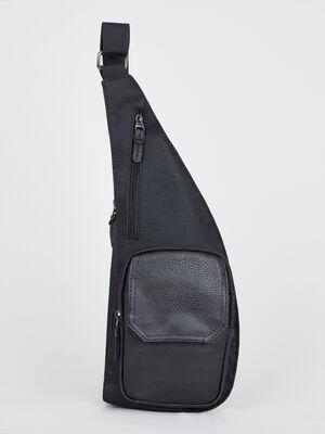 Sac ceinture bimatiere avec zips noir homme