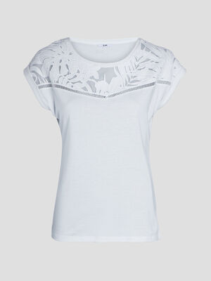 T shirt a manches courtes ecru femme