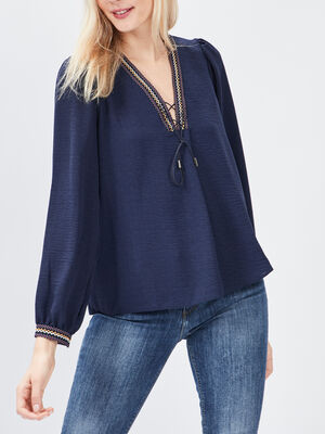 T shirt manches longues Creeks bleu marine femme