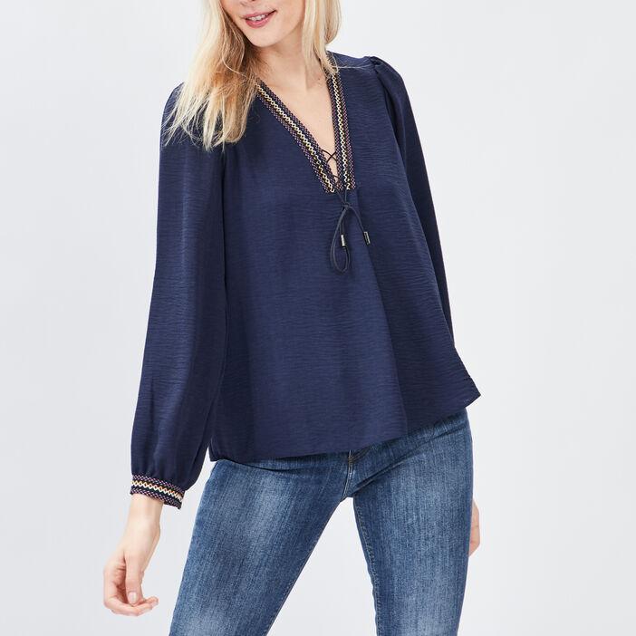 T-shirt manches longues Creeks femme bleu marine