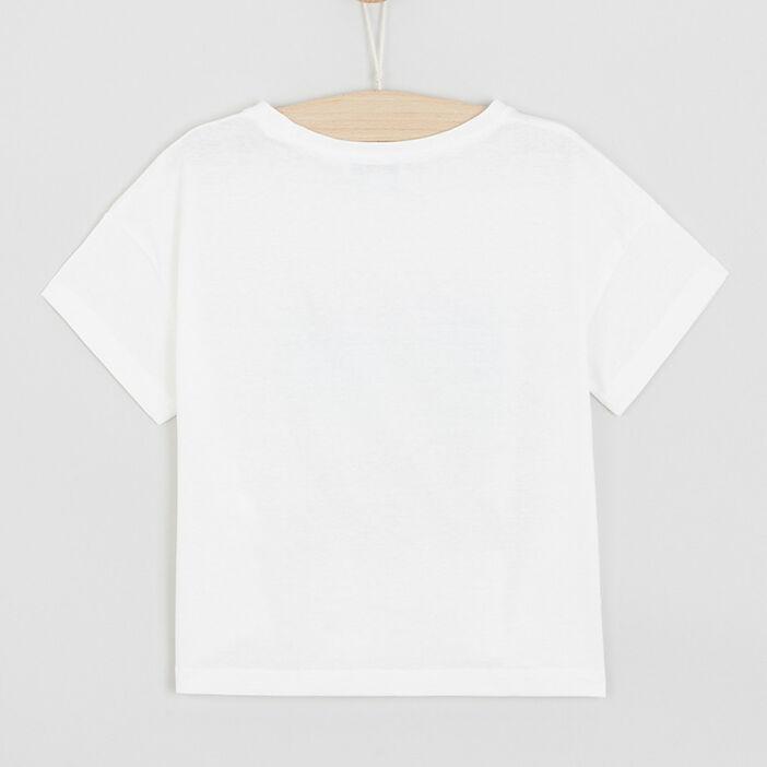T-shirt imprimé plage fille ecru
