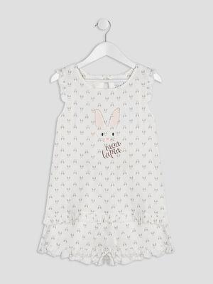 Pyjama imprime a manches longues blanc fille