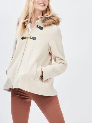 Manteau evase avec capuche beige femme