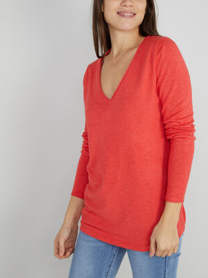 Pull manches longues col V orange corail femme