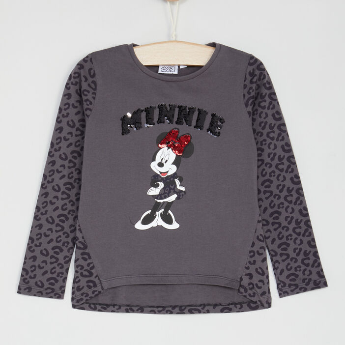 T-shirt Minnie manches longues sequins fille gris