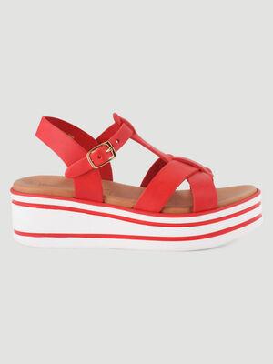 Sandales cuir talon compense raye rouge fille