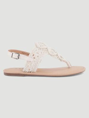 Sandales dessus bimatiere style crochet blanc femme