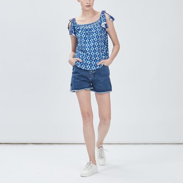 T-shirt manches courtes femme bleu
