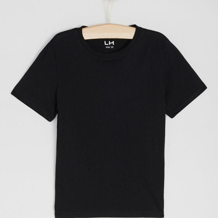 T-shirt basique en coton garçon noir