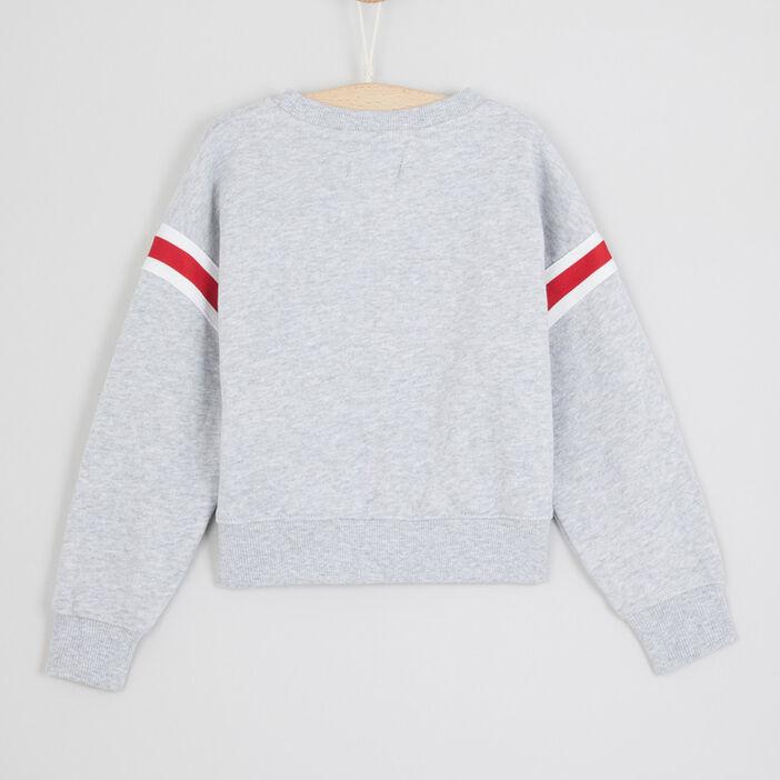 Sweatshirt bandes sur les manches fille gris