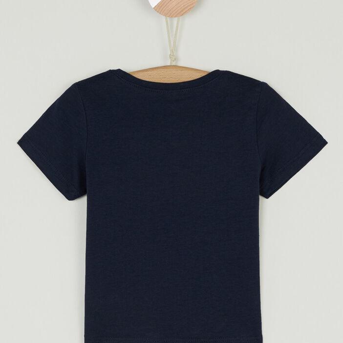 T-shirt col rond message devant bébé garçon bleu marine