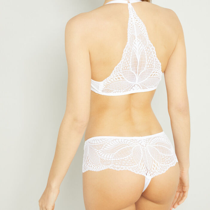 Boxer string dentelle coordonnable femme blanc