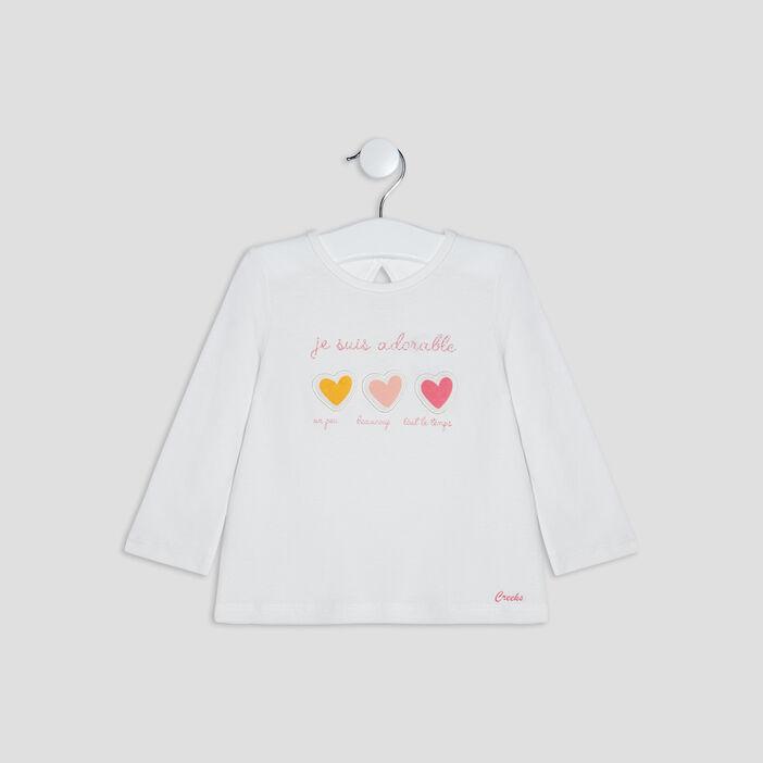 T-shirt manches longues Creeks bébé fille ecru