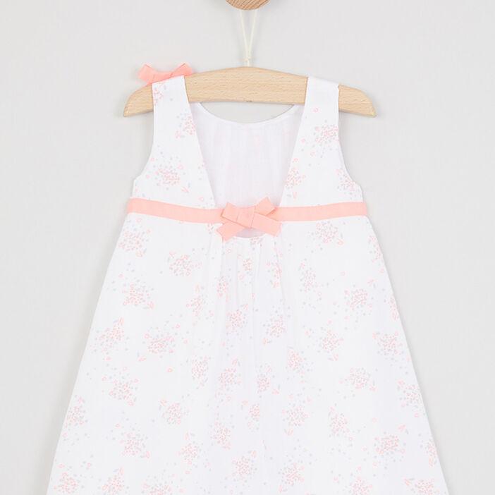 Robe à fleurs avec nœuds bébé fille blanc