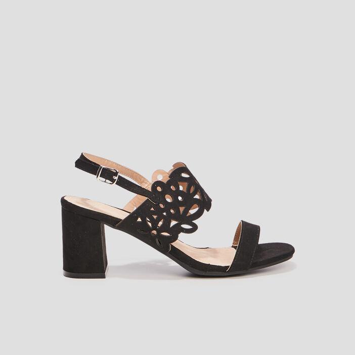 Sandales à talons ajourées femme noir