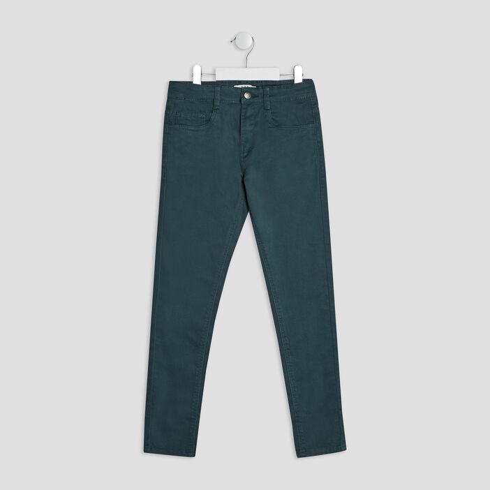 Pantalon skinny garçon bleu canard