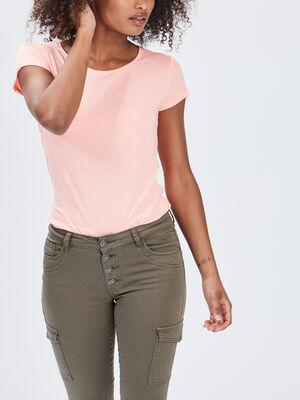 T shirt manches courtes orange fluo femme