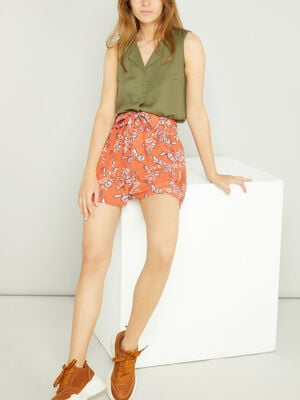 Short ample fluide orange fonce femme