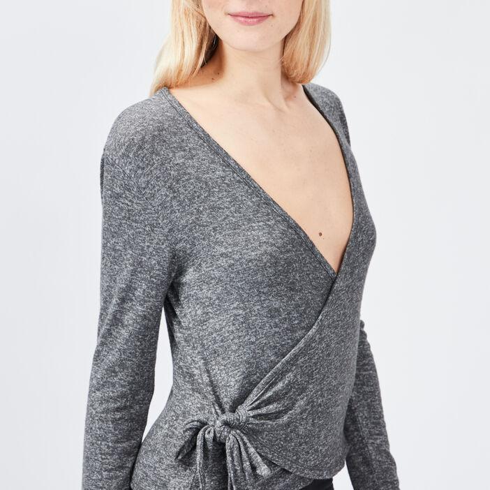 Haut de pyjama cache-coeur femme gris
