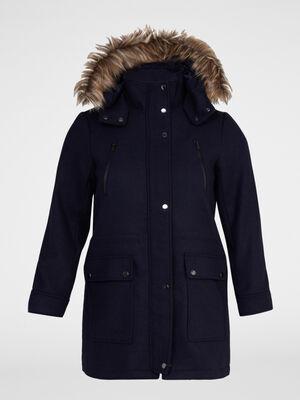 Manteau a capuche multipoches bleu marine femme