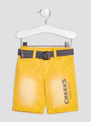 Bermuda droit ceinture Creeks jaune bebeg