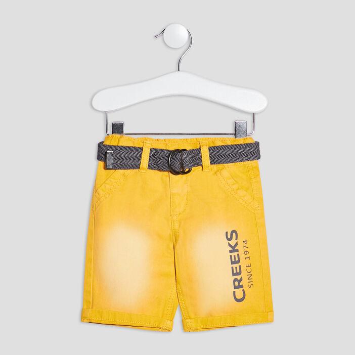 Bermuda droit ceinturé Creeks bébé garçon jaune
