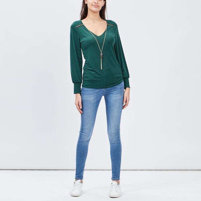 T-shirt manches longues femme vert