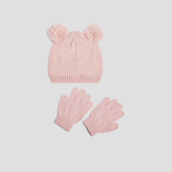 Lot bonnet et gants fille rose