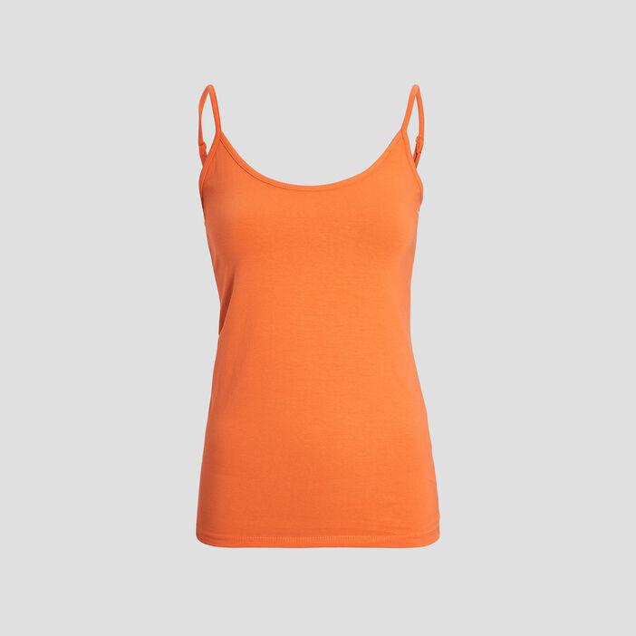 Débardeur bretelles fines femme orange