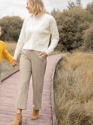 Pantalon large beige femme